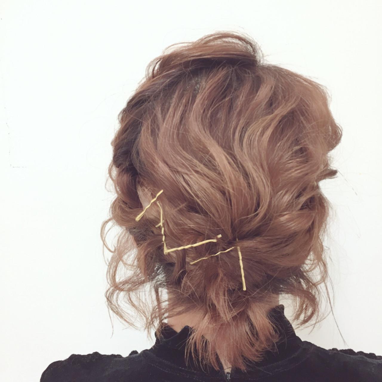 フェミニン ヘアアレンジ ボブ 結婚式ヘアスタイルや髪型の写真・画像