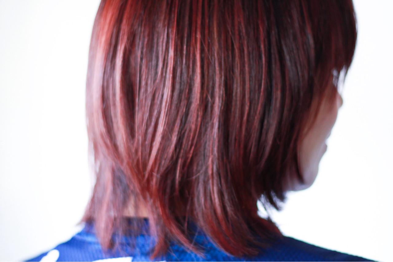 ナチュラル ミディアム ピンク 冬 ヘアスタイルや髪型の写真・画像 | creap / creap