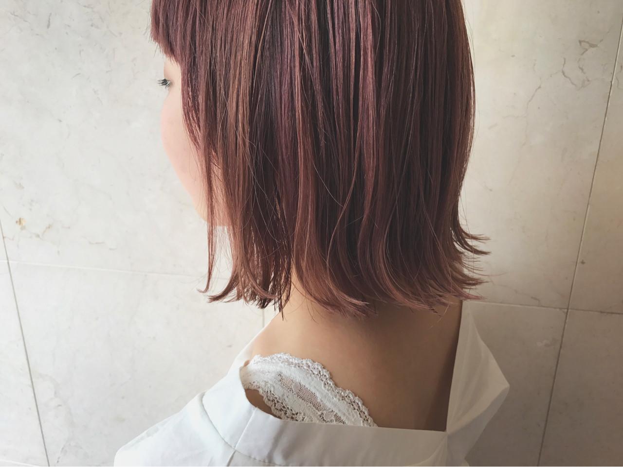 ダブルカラー ピンクアッシュ ボブ ストリート ヘアスタイルや髪型の写真・画像 | 野間祐樹 / HAIR'S Lunetta (ヘアーズ ルネッタ)