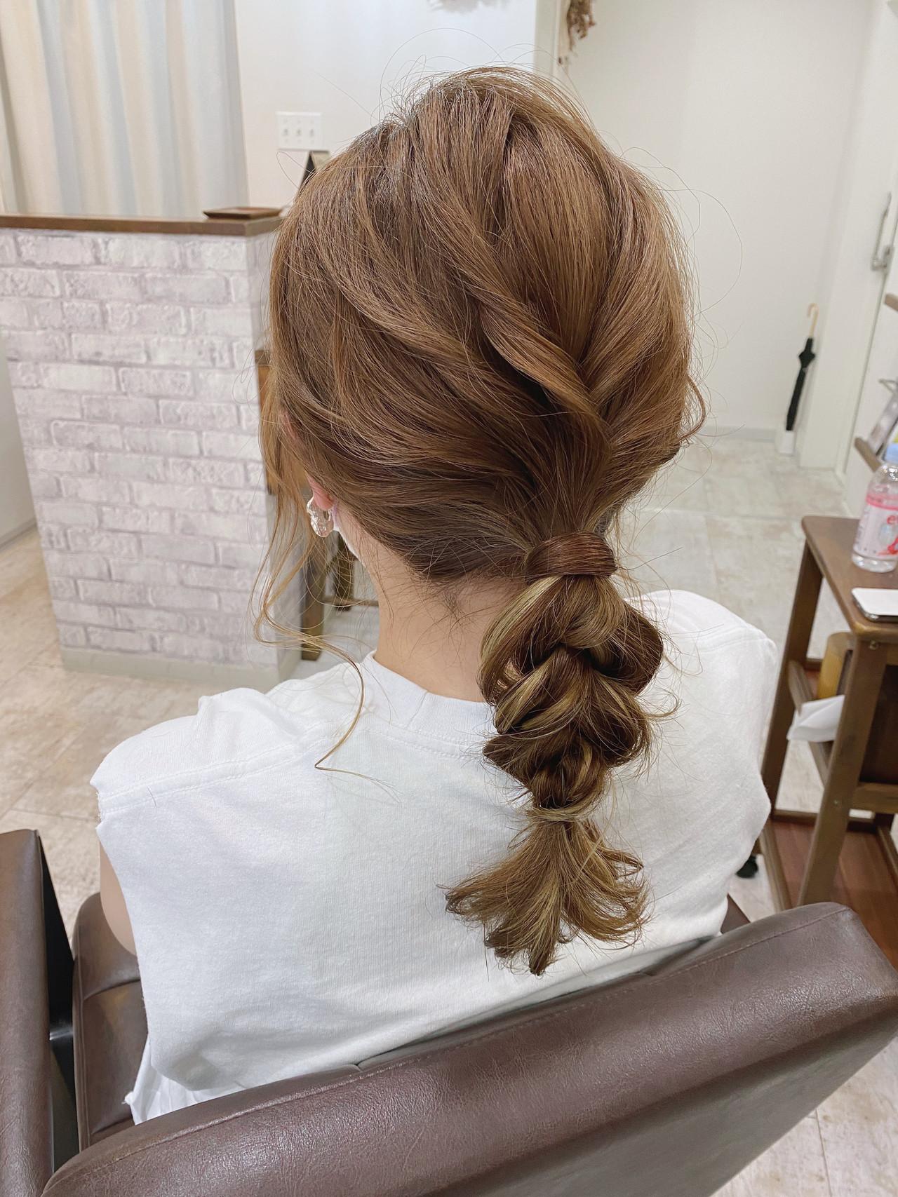 ヘアアレンジ ガーリー セミロング インナーカラー ヘアスタイルや髪型の写真・画像