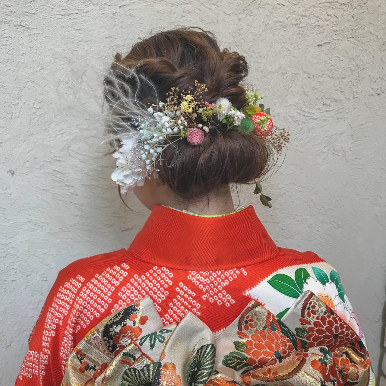 成人式ヘア 振袖ヘア お花ヘア フェミニンヘアスタイルや髪型の写真・画像