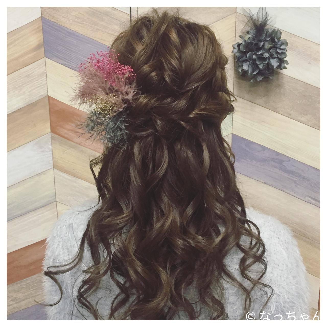 ハーフアップ 結婚式 ブライダル ロング ヘアスタイルや髪型の写真・画像 | なっちゃん / G-girl
