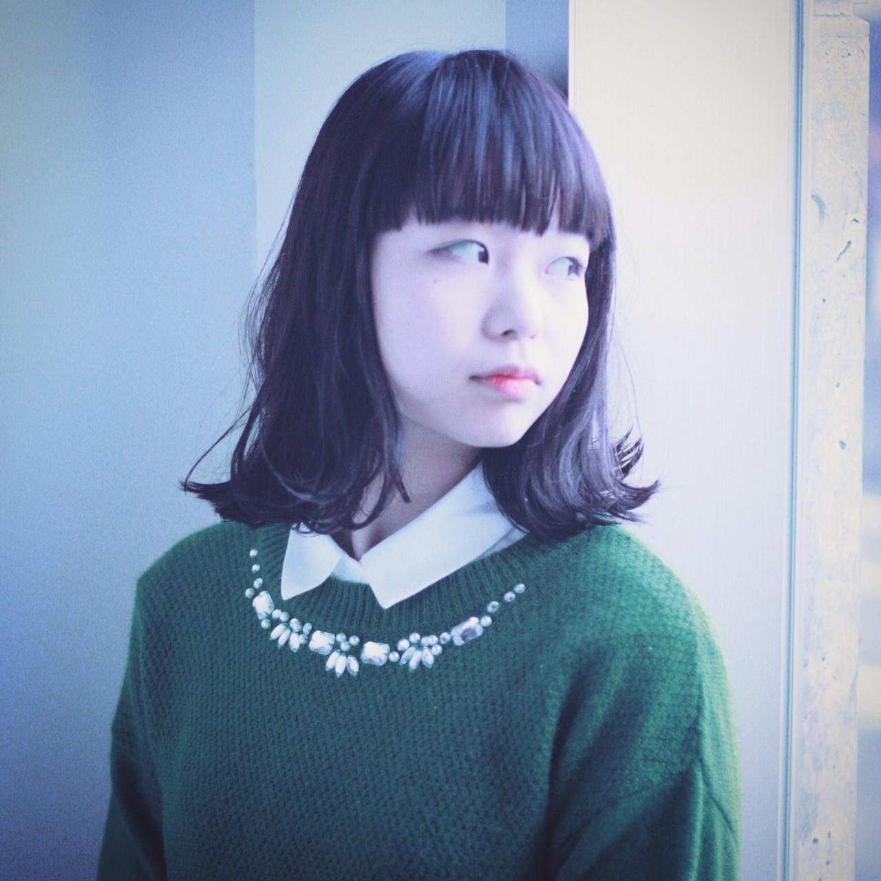 ワイドバング ボブ ミディアム 暗髪 ヘアスタイルや髪型の写真・画像   コバヤシ アキラ / UNI