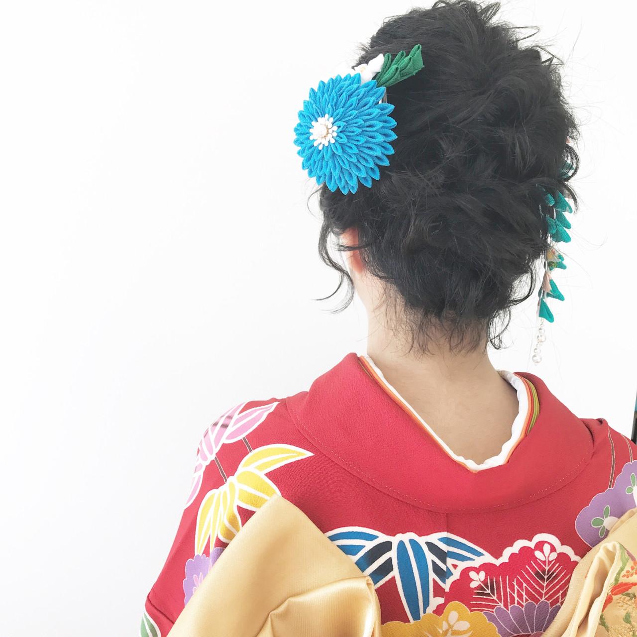 ヘアアレンジ 成人式 黒髪 ショートヘアスタイルや髪型の写真・画像