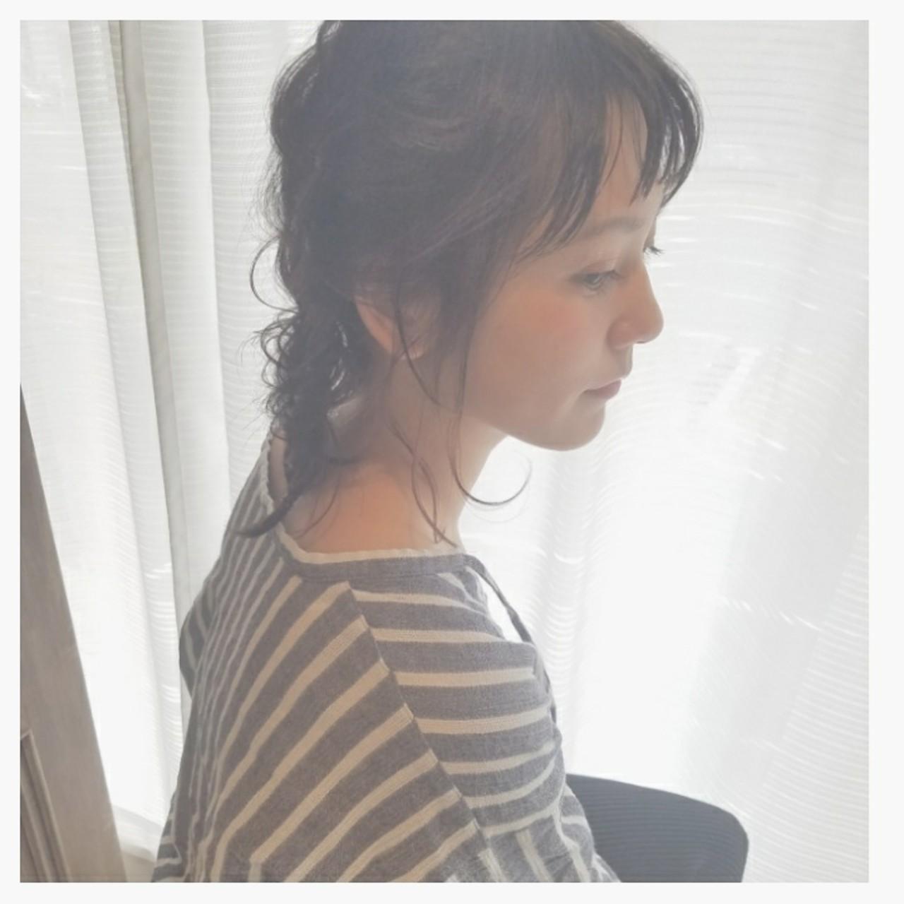 簡単ヘアアレンジ ゆるふわ 斜め前髪 ショート ヘアスタイルや髪型の写真・画像 | 中原梨沙 nakayan / Queen's garden by k-two