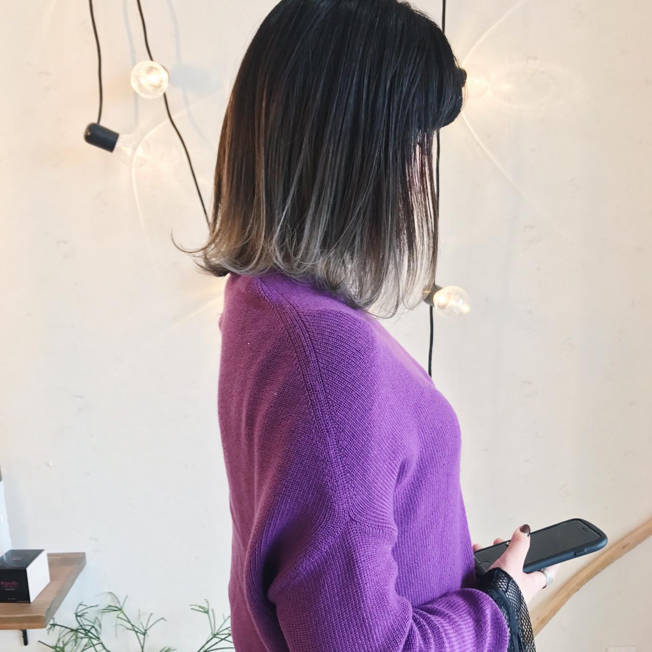 ブリーチ ロブ ホワイト ストリート ヘアスタイルや髪型の写真・画像   原木翔太 / lufun hair design  ルファン
