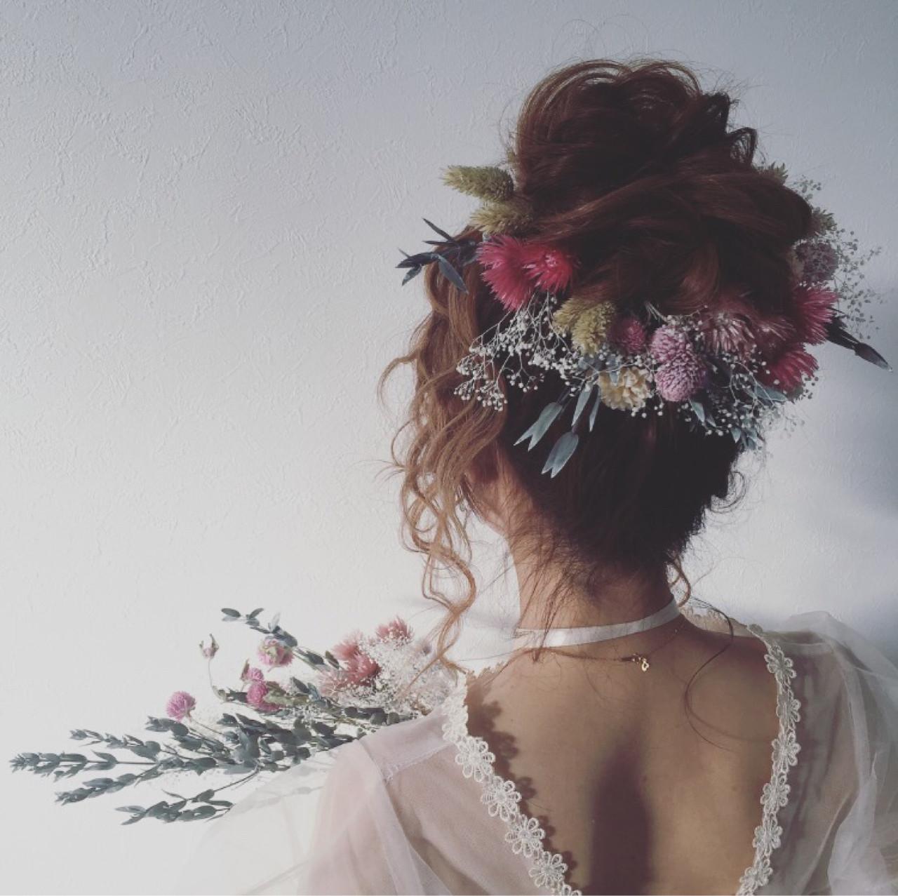 ヘアアレンジ お団子 結婚式 花嫁 ヘアスタイルや髪型の写真・画像 | なっちゃん / G-girl