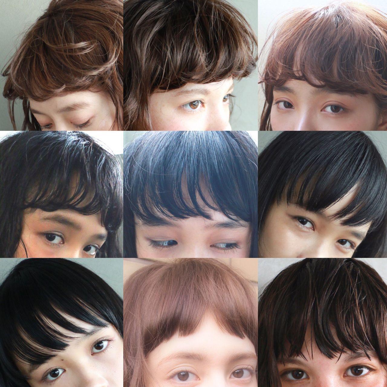 暗髪 外国人風 ナチュラル 前髪パーマヘアスタイルや髪型の写真・画像