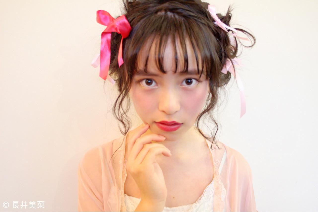 簡単ヘアアレンジ 大人女子 前髪あり ゆるふわ ヘアスタイルや髪型の写真・画像 | 長井美菜 / Carlm