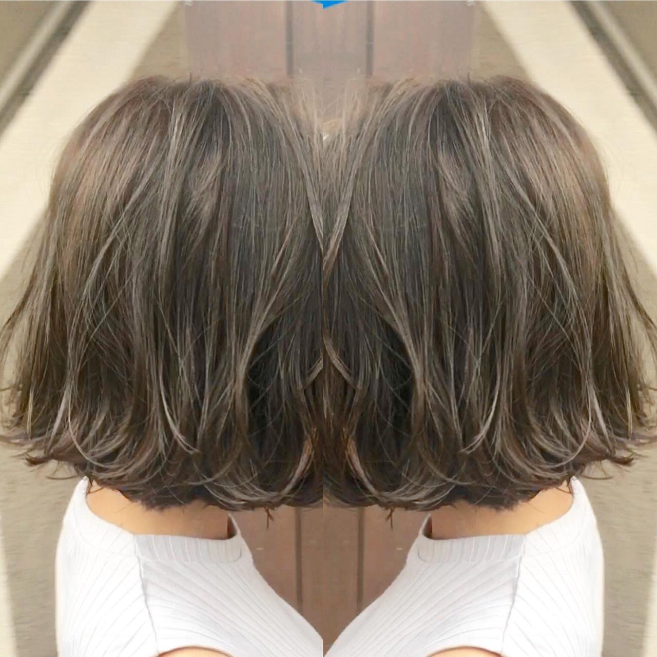 ナチュラル 切りっぱなしボブ 地毛風カラー ショートボブヘアスタイルや髪型の写真・画像