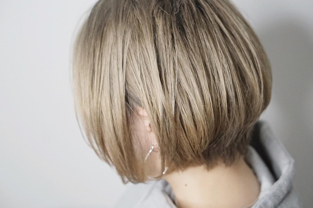 ボブ ガーリー ブロンドカラー ブリーチ必須 ヘアスタイルや髪型の写真・画像 | ショート ハイトーンの達人 ABBEY 迫田 / ABBEY