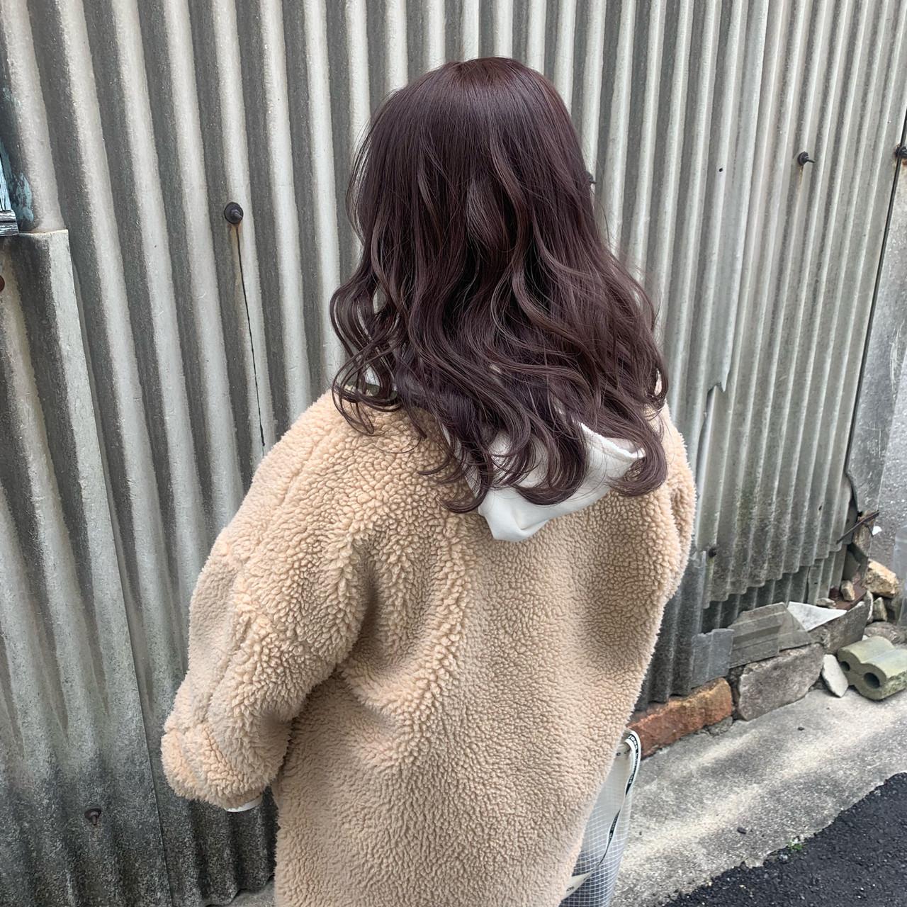 セミロング ベリーピンク ピンクアッシュ コリアンピンク ヘアスタイルや髪型の写真・画像 | 宮田 浩章 / oli