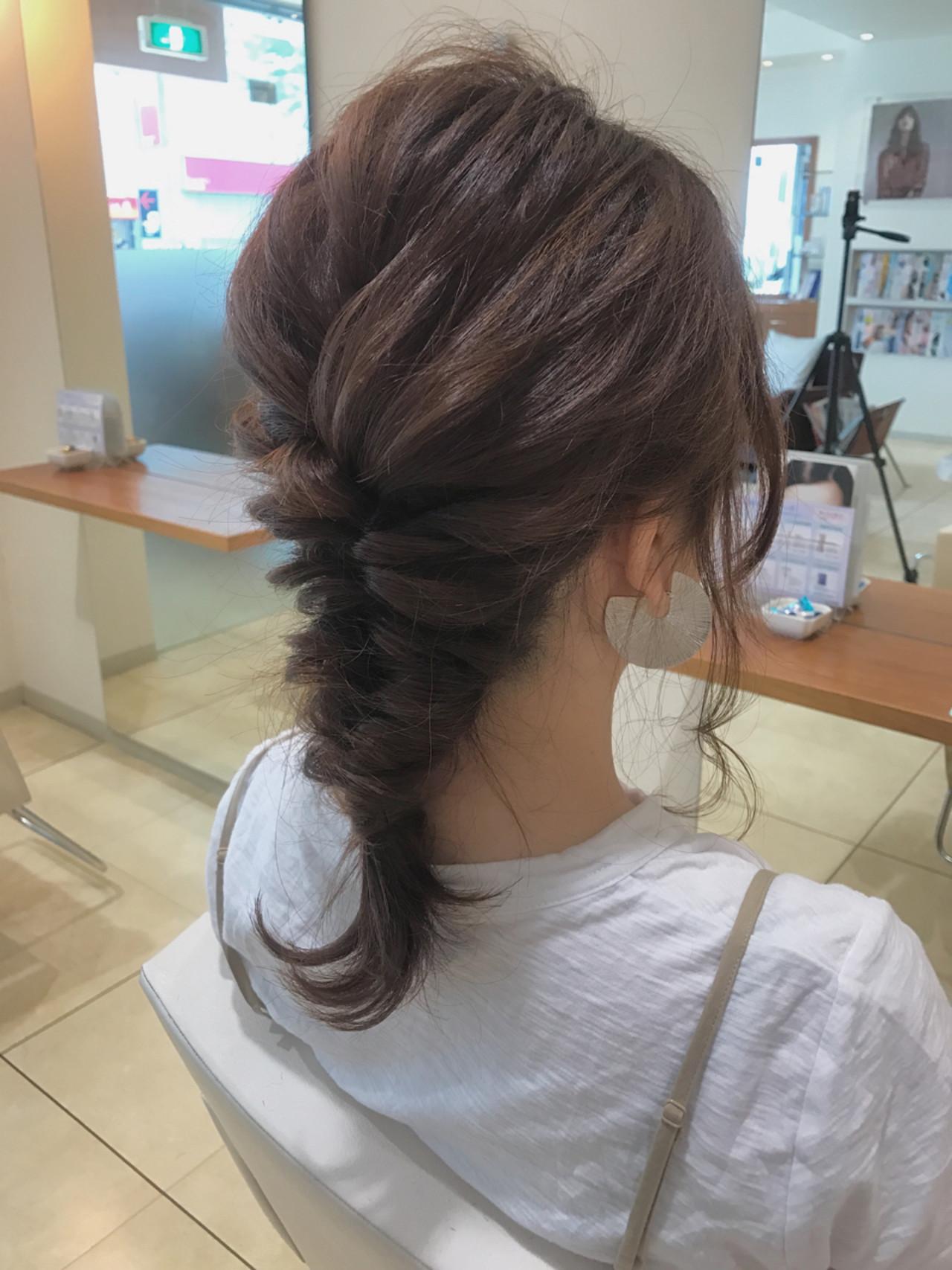 アンニュイ セミロング 簡単ヘアアレンジ 結婚式 ヘアスタイルや髪型の写真・画像 | 小田 孝一 / Oase makoto brands