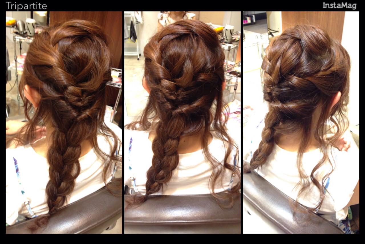 ゆるふわ フェミニン セミロング 編み込み ヘアスタイルや髪型の写真・画像   野田 栞里 / soin de brace 奈良店