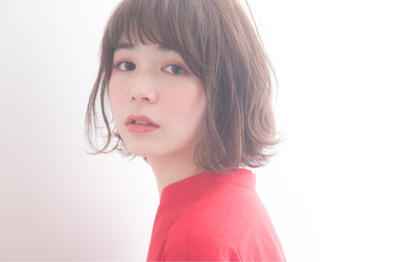 ニュアンス ボブ フリンジバング ナチュラル ヘアスタイルや髪型の写真・画像 | 羽田ひろむ / LAiLY  by  GARDEN