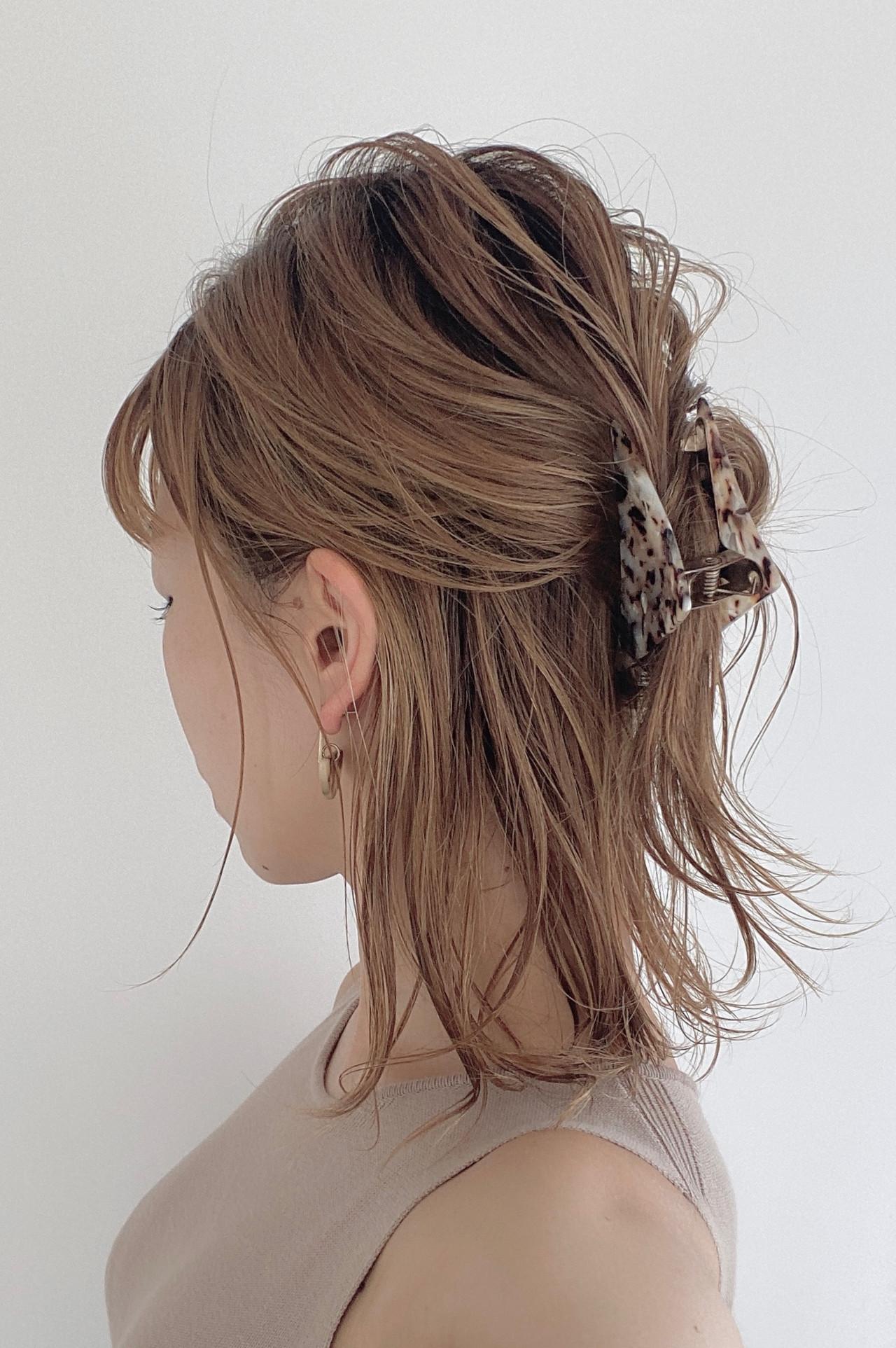 ハーフアップ ナチュラル 簡単ヘアアレンジ ヘアアレンジ ヘアスタイルや髪型の写真・画像