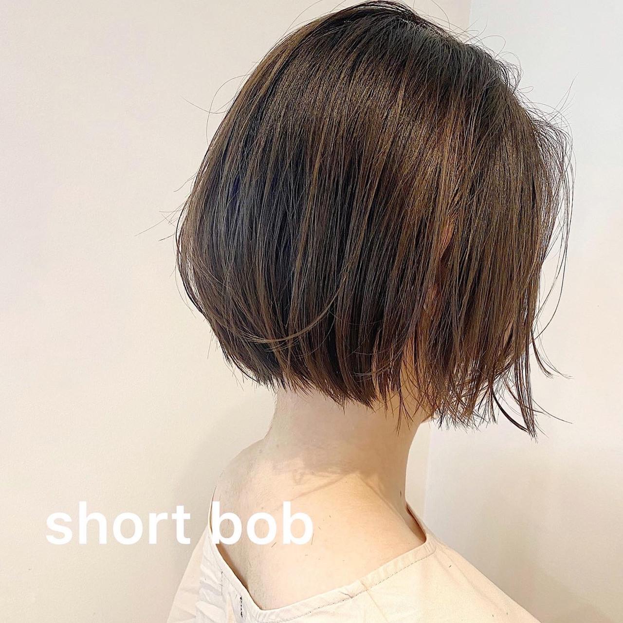 大人カジュアル ショート 大人可愛い ミニボブ ヘアスタイルや髪型の写真・画像 | eri / kikkake@depth