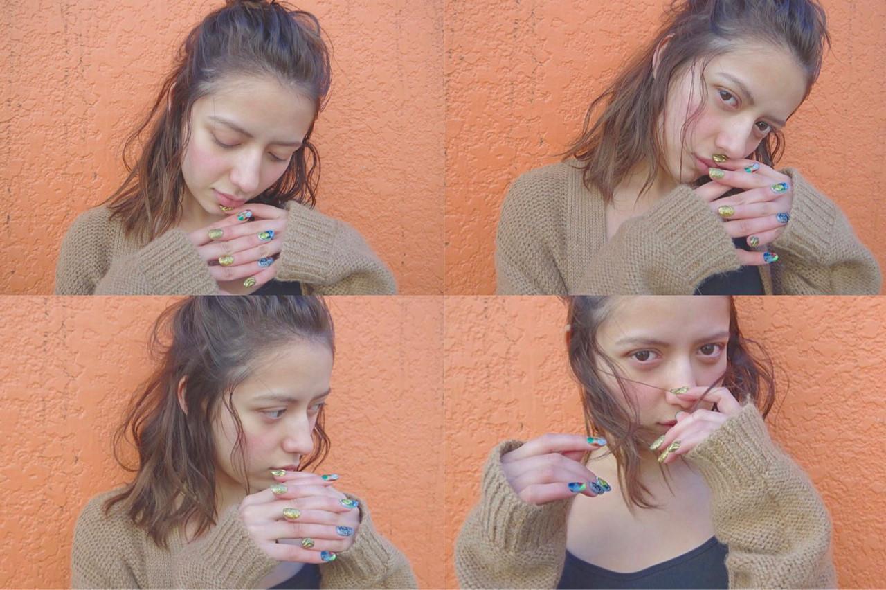 ハーフアップ 大人女子 ミディアム お団子 ヘアスタイルや髪型の写真・画像 | Rie Akita / LOAVE omotesando