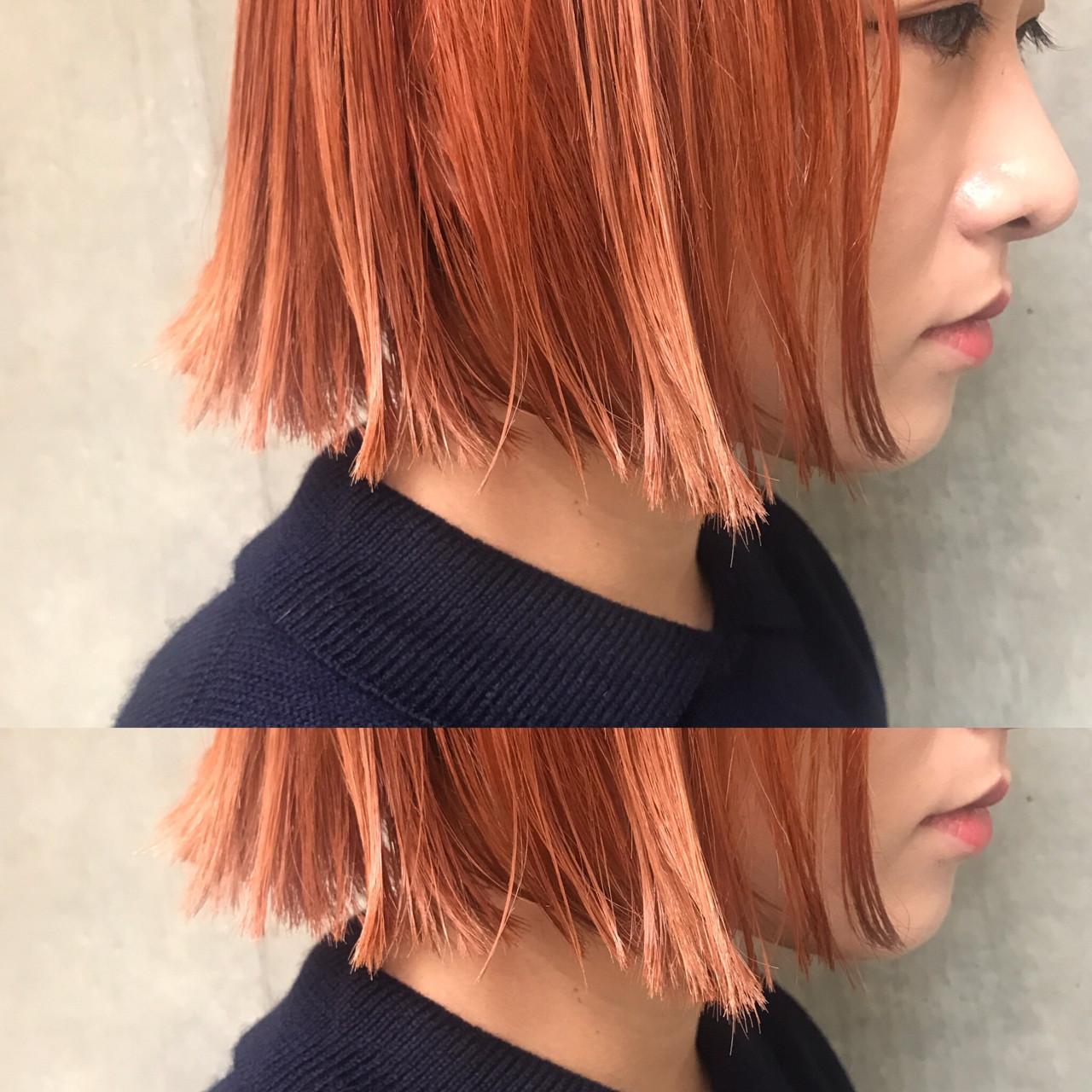 ボブ ハイライト ミルクティー モードヘアスタイルや髪型の写真・画像