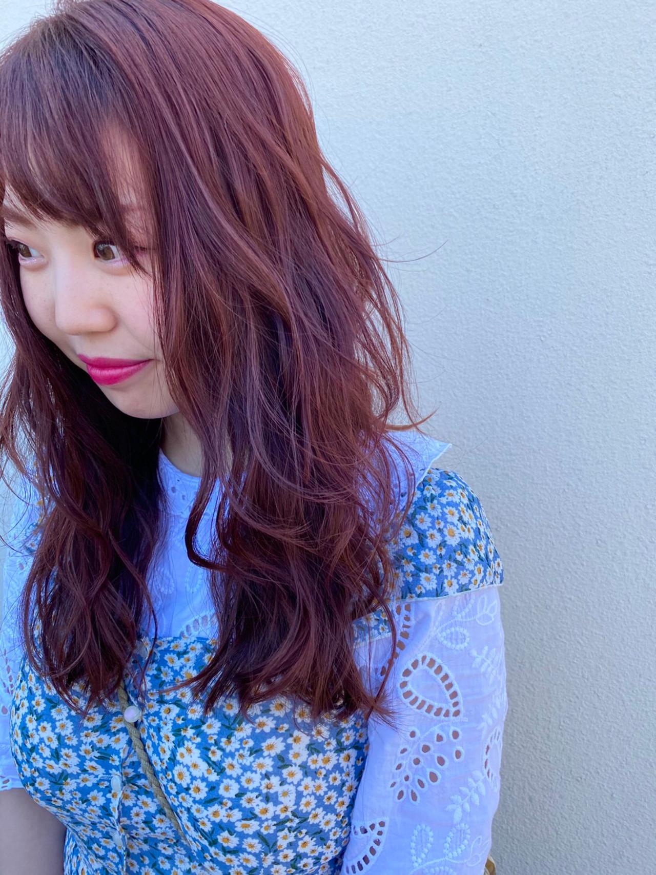 巻き髪 ピンクアッシュ ロング ピンクバイオレット ヘアスタイルや髪型の写真・画像 | 増田智仁 / マニスオブヘアー