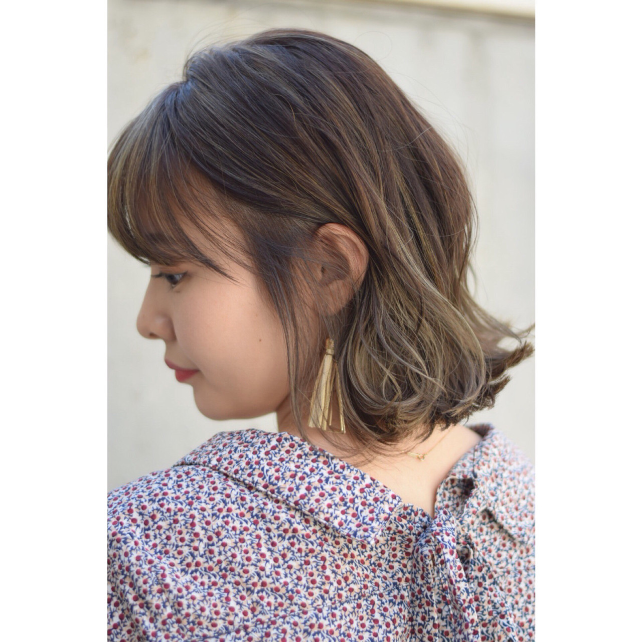 ハイライト ボブ 外国人風カラー アッシュヘアスタイルや髪型の写真・画像