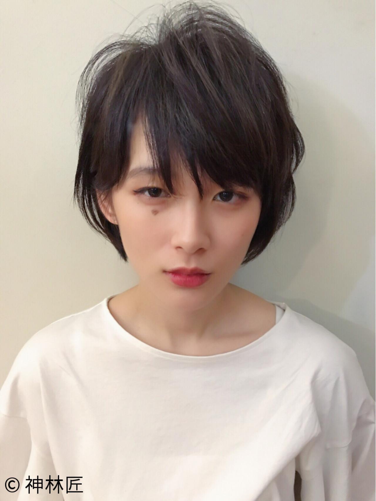 黒髪 小顔 ショート 前髪あり ヘアスタイルや髪型の写真・画像 | 神林匠 / 髪庵 ゆかし (かみあん ゆかし)