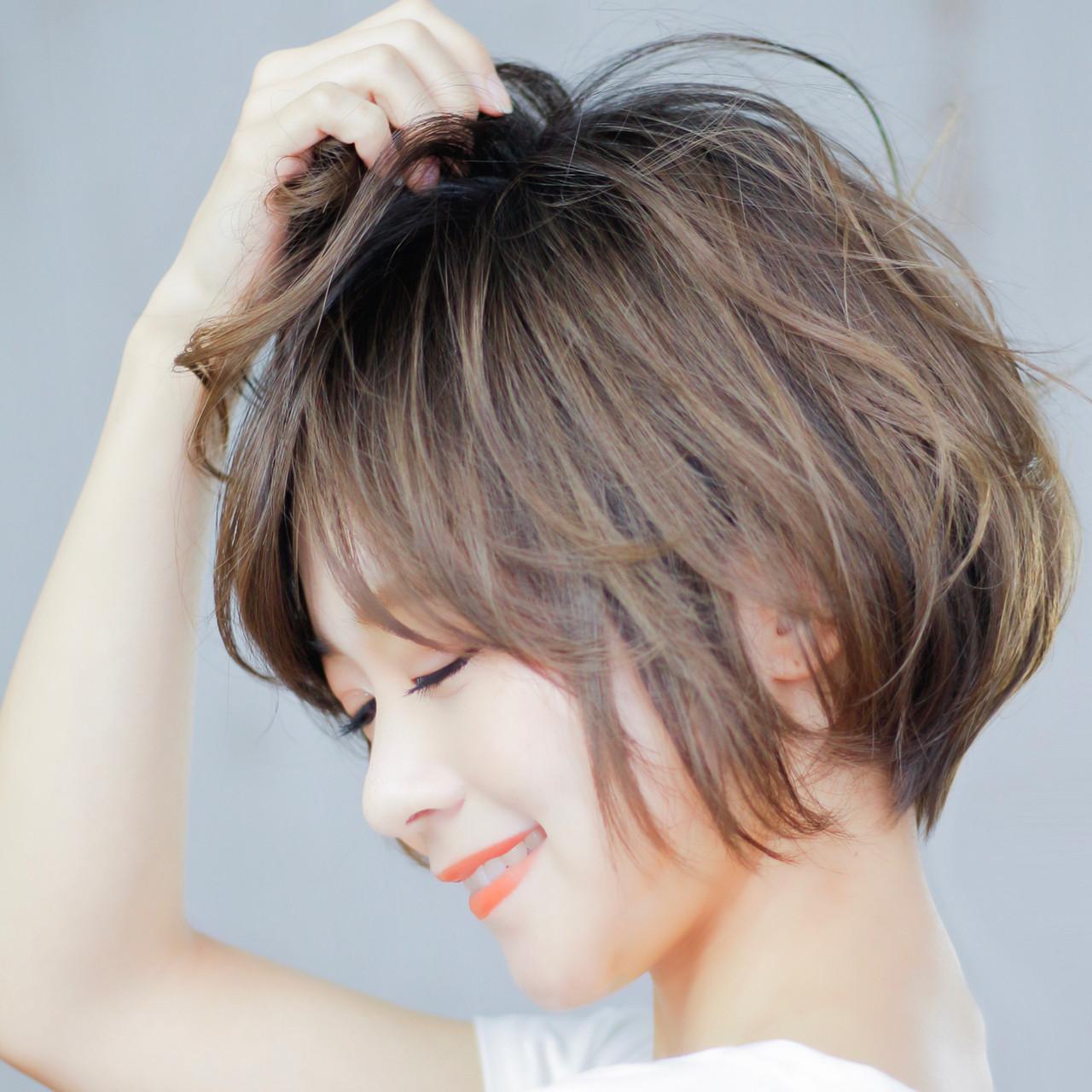 デート ショートボブ パーマ ショート ヘアスタイルや髪型の写真・画像 | 藤井宏季 / Gill hair