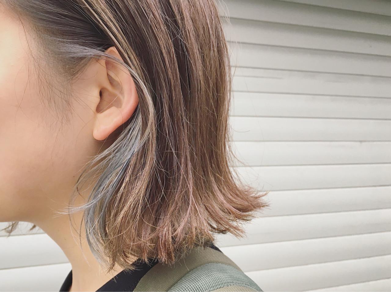 インナーカラー 透明感 ナチュラル 外ハネ ヘアスタイルや髪型の写真・画像 | 鶴野 智恵子 / Avenz.foundation