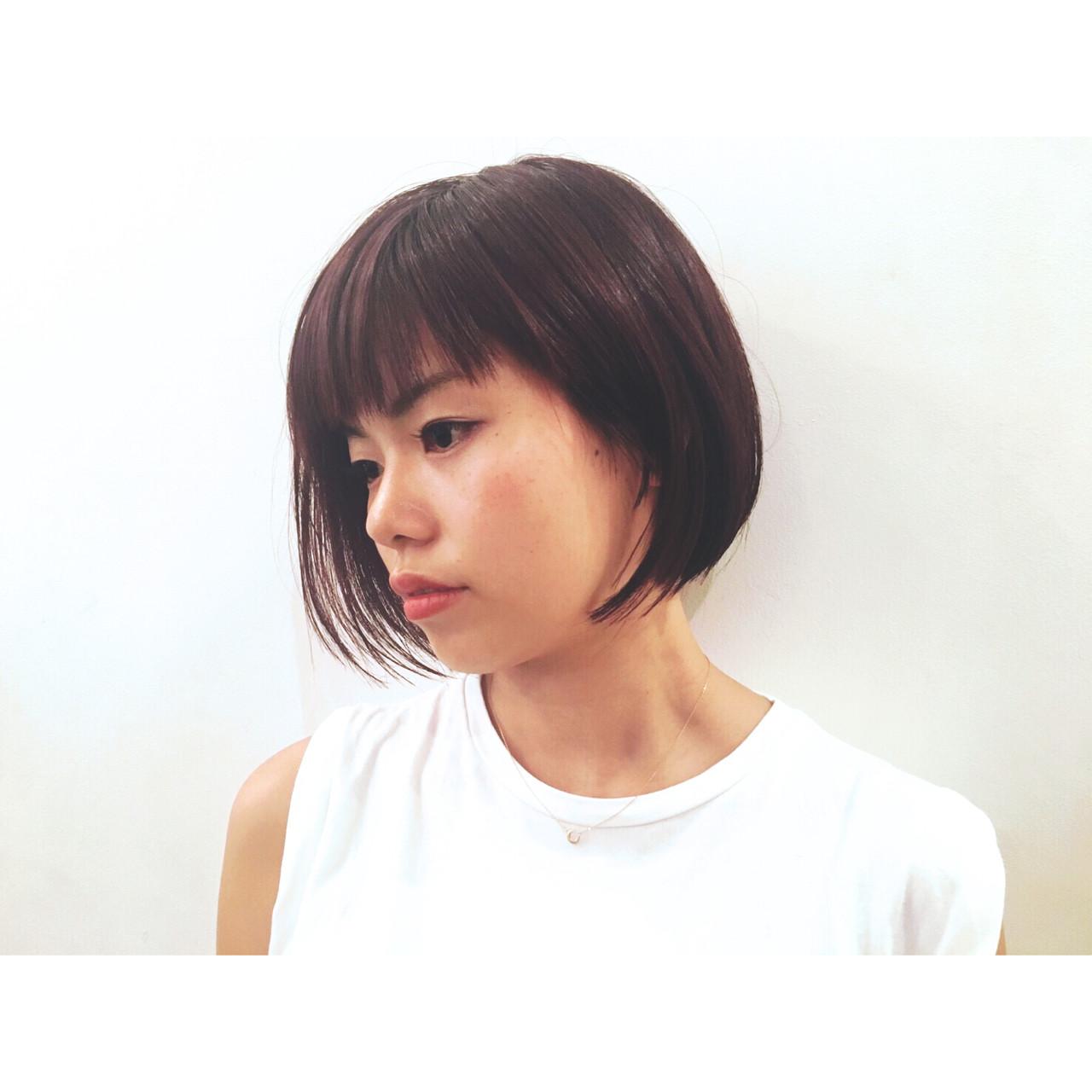 アシメバング ボブ モード ショート ヘアスタイルや髪型の写真・画像 | 芦原照成 / Nicole.