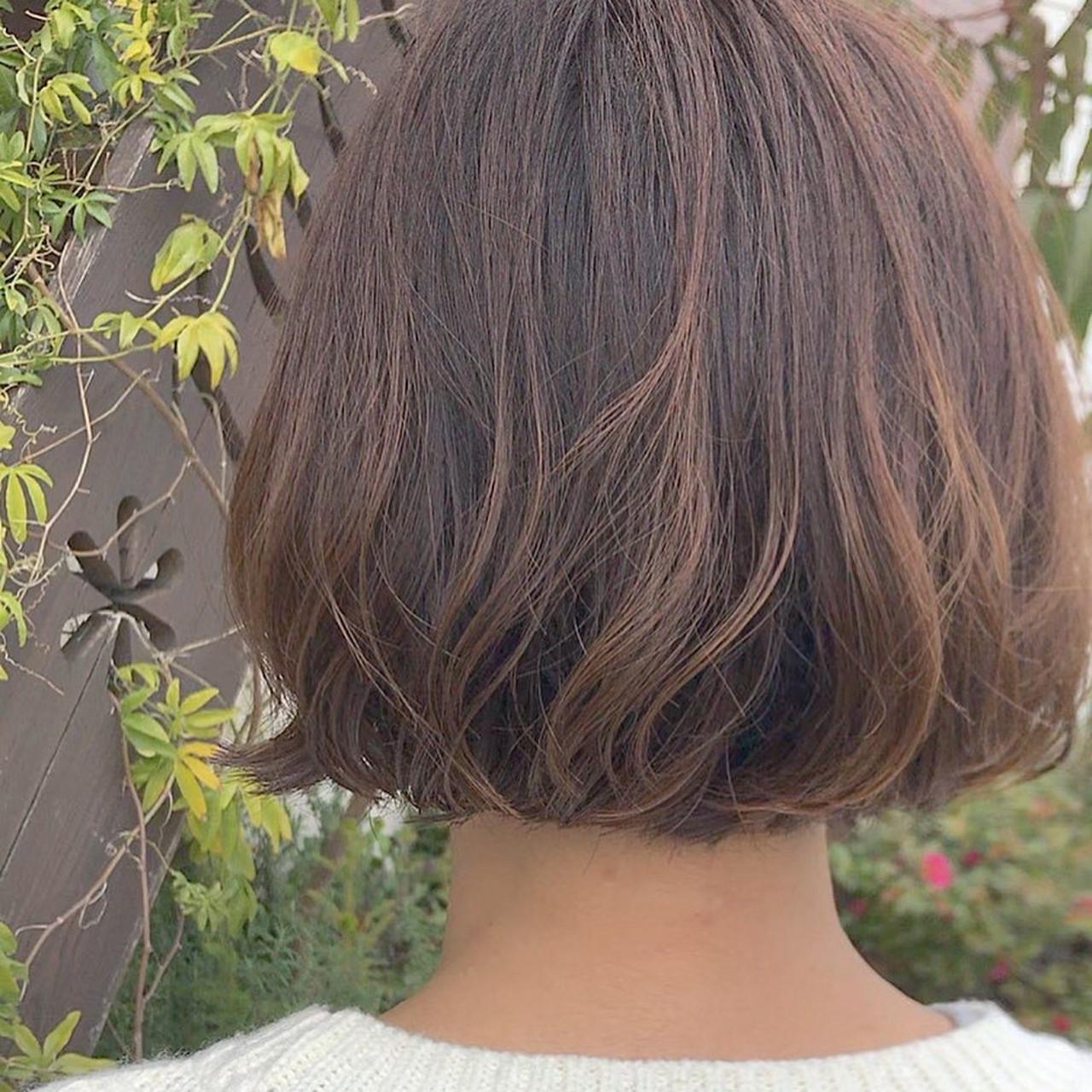 モテボブ まとまるボブ ナチュラル 毛先パーマヘアスタイルや髪型の写真・画像