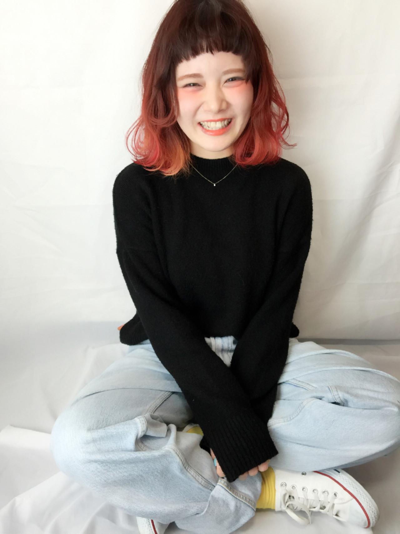 前髪あり ストリート オン眉 ミディアム ヘアスタイルや髪型の写真・画像 | 菊池 綾子 / AliceHairDesign
