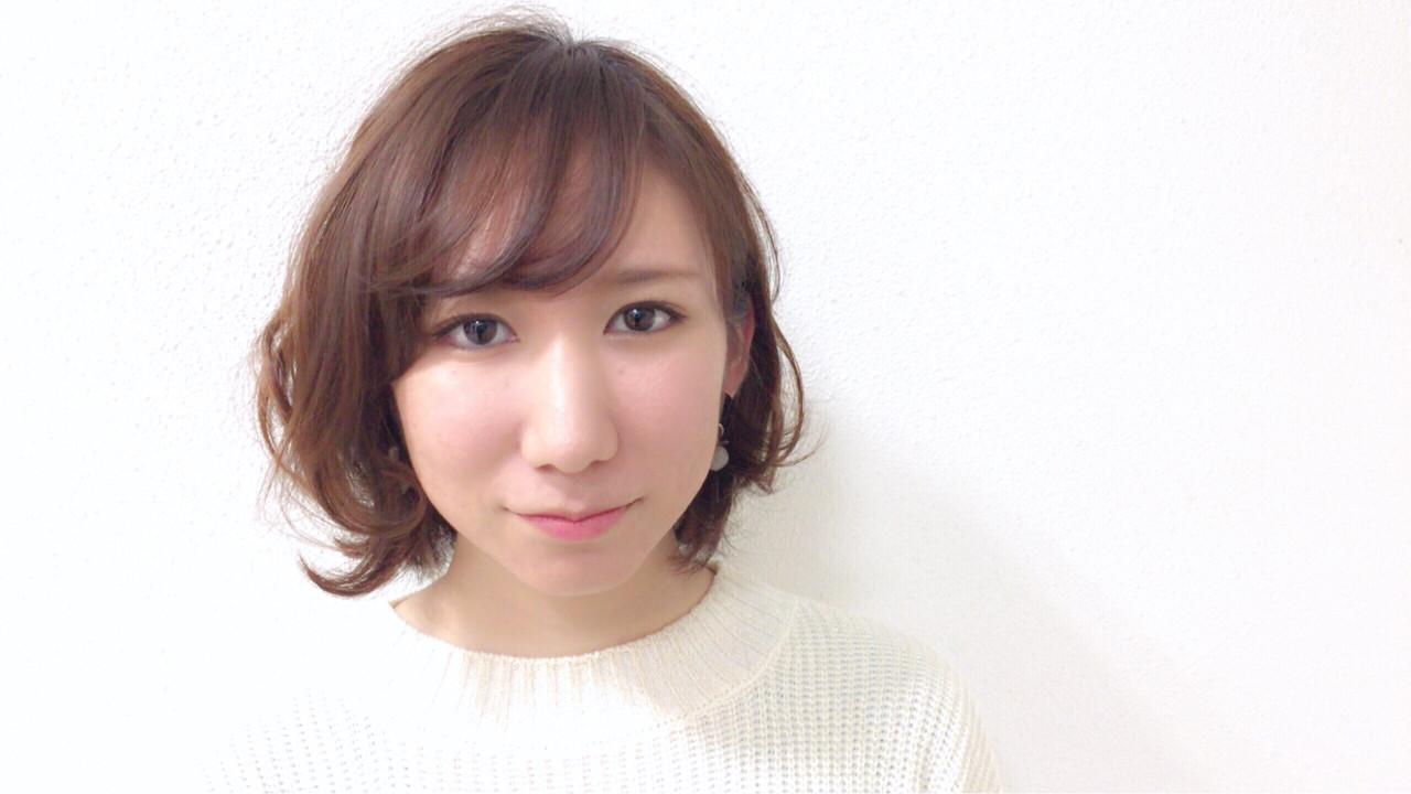 ボブ 斜め前髪 ニュアンス ゆるふわ ヘアスタイルや髪型の写真・画像 | Taniguchi Yukiko / IRODORI hair design