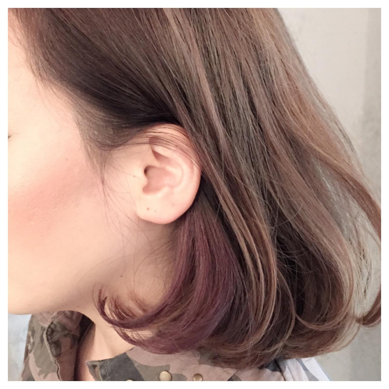 耳かけ アッシュ ボブ ハイライト ヘアスタイルや髪型の写真・画像 | 岡本 光太 / Acotto Labas