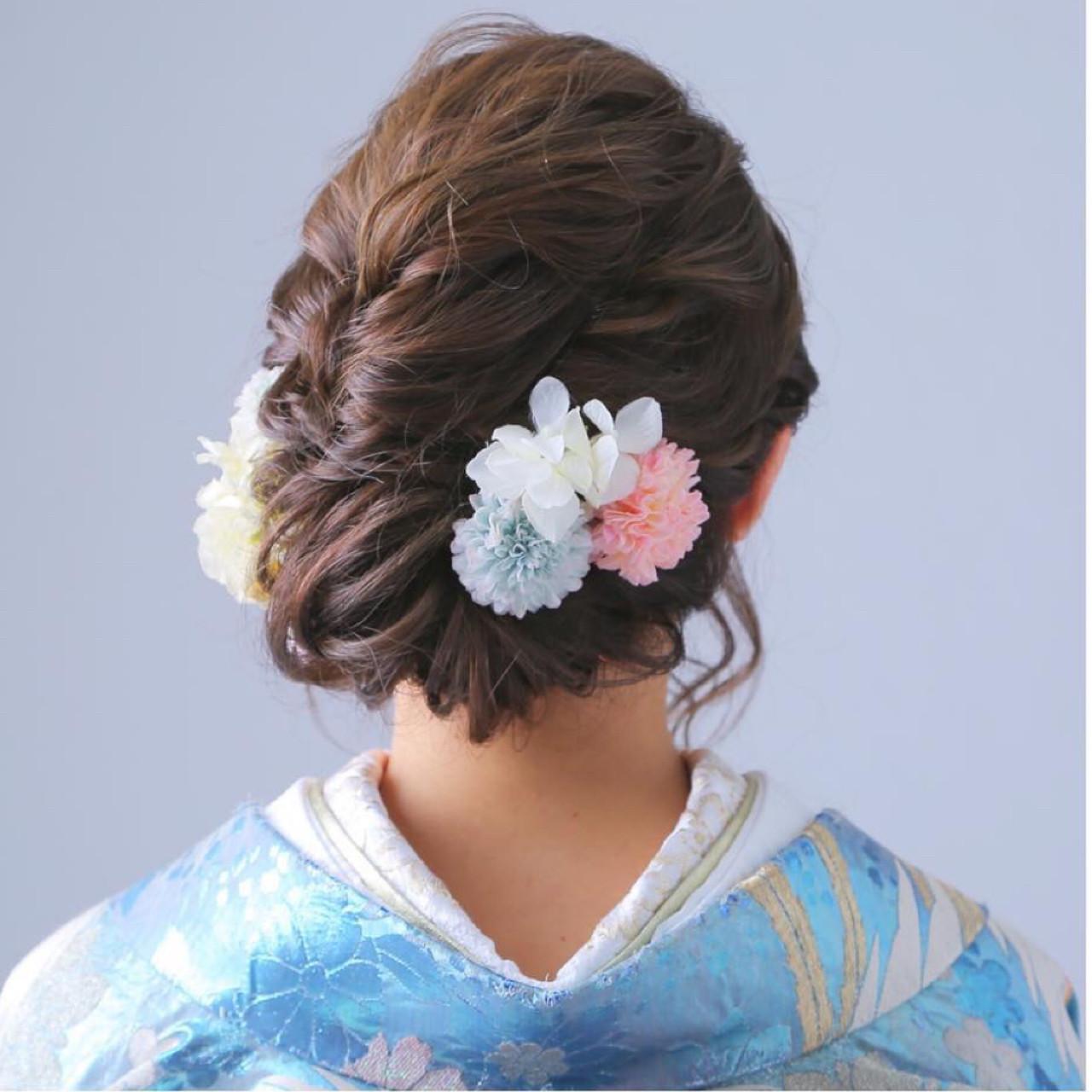 花嫁 和装 結婚式 ゆるふわヘアスタイルや髪型の写真・画像