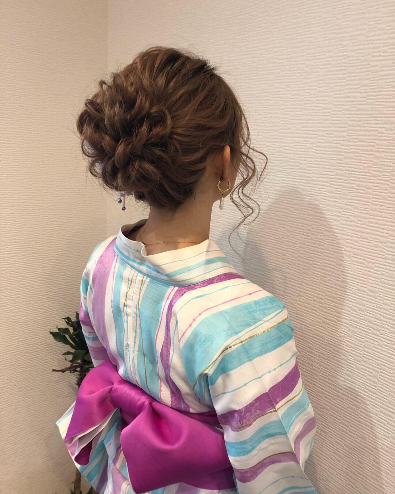 アップ アップスタイル フェミニン ミディアム ヘアスタイルや髪型の写真・画像 | mai / HAIR SALON STELLA
