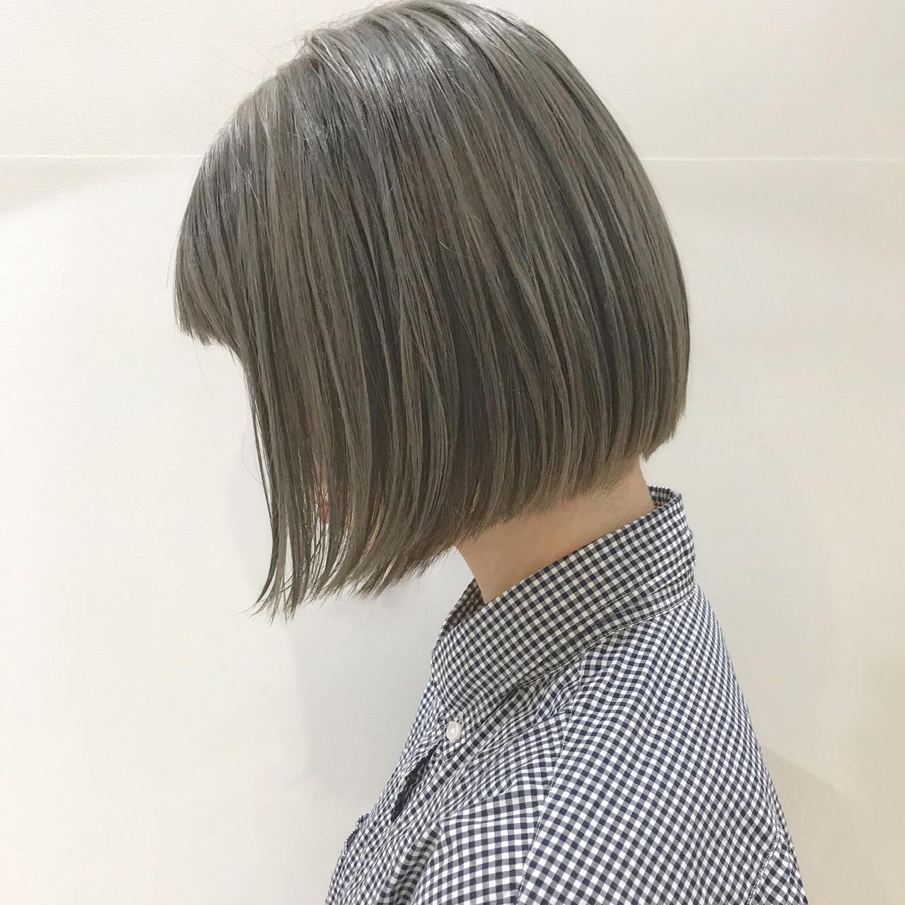 前下がり アッシュグレージュ 切りっぱなし グレージュ ヘアスタイルや髪型の写真・画像   SHUN / Cocoon 銀座