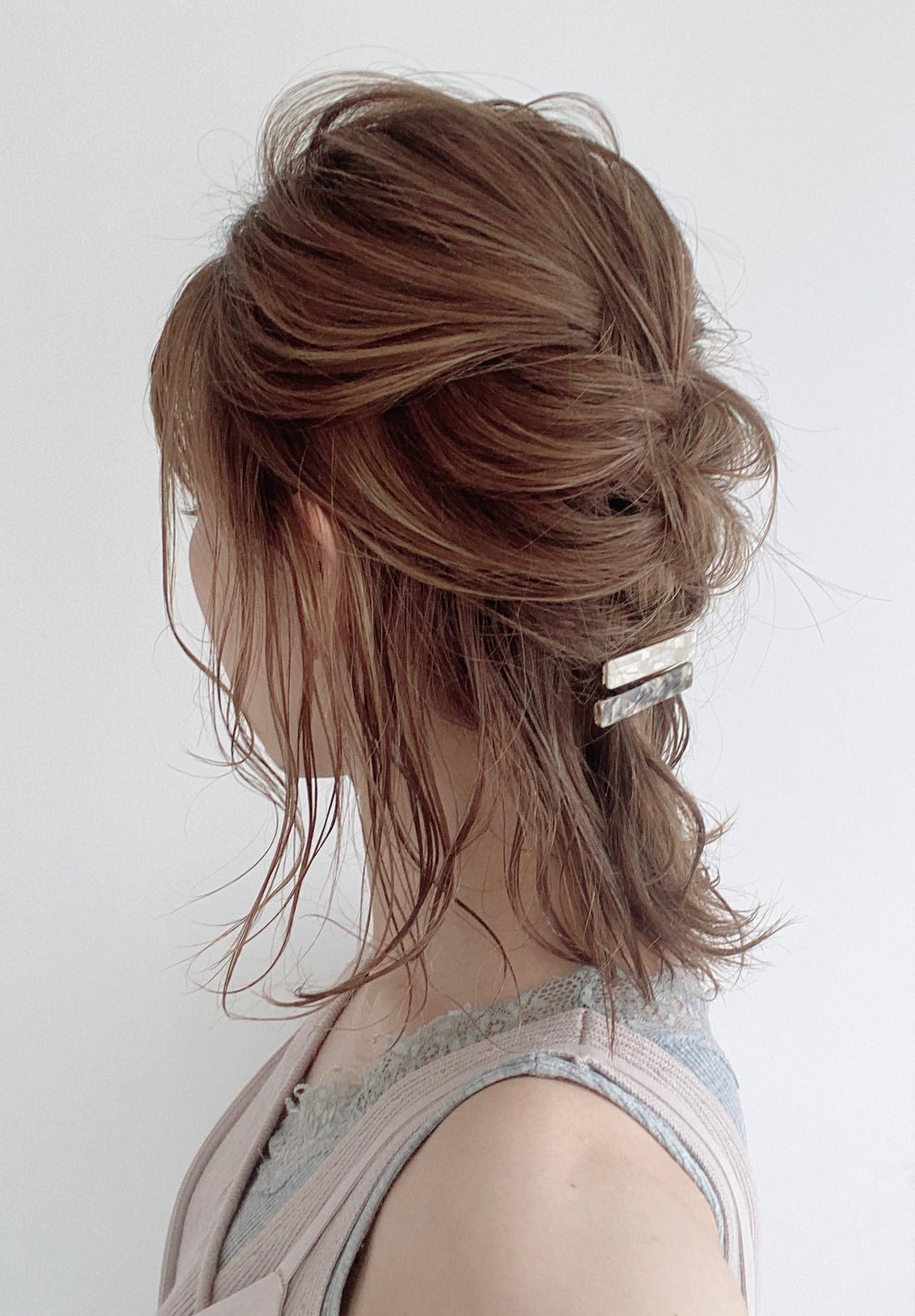 ミディアム ナチュラル セルフヘアアレンジ 編み込み ヘアスタイルや髪型の写真・画像 | 宮崎 まさみ / APPiiS