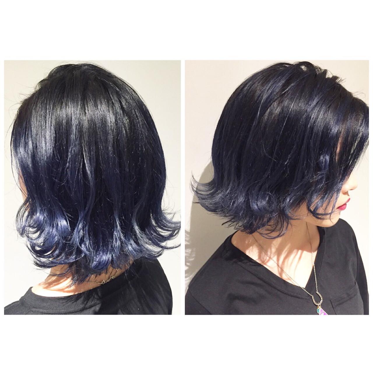 ハイライト 暗髪 外国人風 ミディアム ヘアスタイルや髪型の写真・画像 | 大石 卓 / Ticro hair