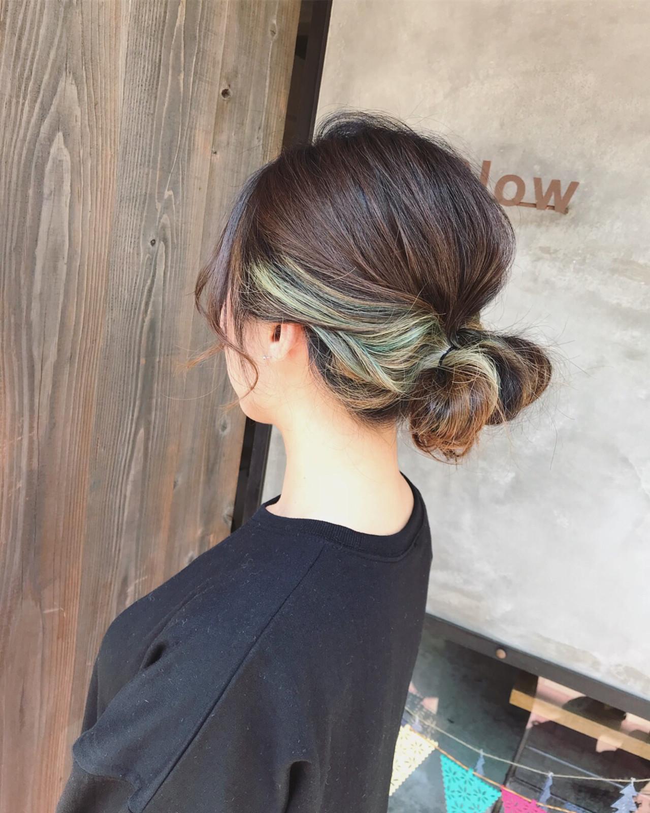 ストリート ブリーチ インナーカラー ミディアム ヘアスタイルや髪型の写真・画像   Tatsuo Araki / Slow