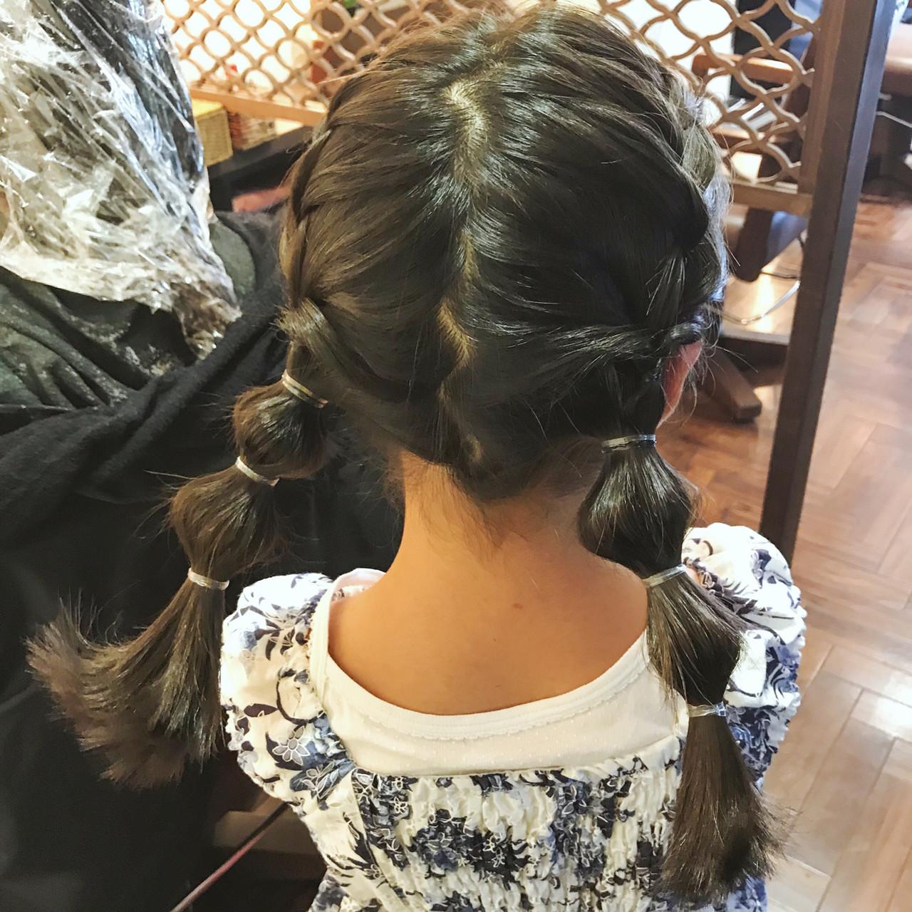 簡単ヘアアレンジ たまねぎアレンジ セミロング キッズ ヘアスタイルや髪型の写真・画像 | 石井 美那 / BERAg hair