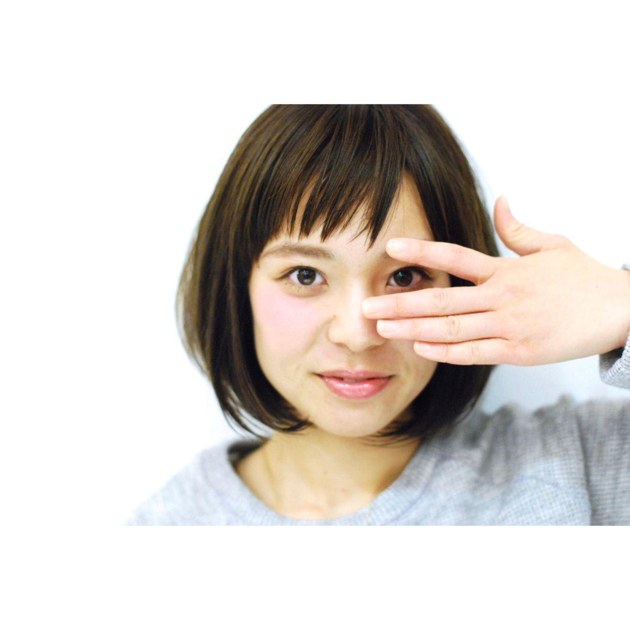 ナチュラル ショート ボブ 暗髪 ヘアスタイルや髪型の写真・画像 | 長 賢太郎 / ky-go