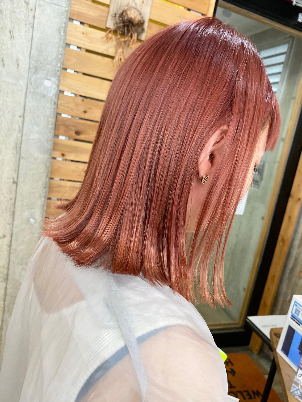 ピンク ピンクカラー ミディアム ペールピンク ヘアスタイルや髪型の写真・画像
