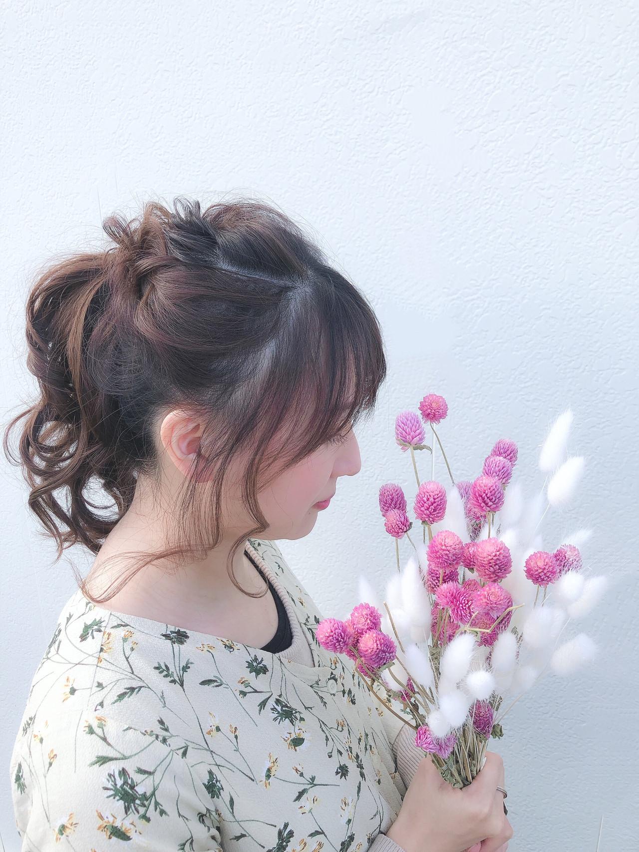 結婚式 セミロング ポニーテール デート ヘアスタイルや髪型の写真・画像   ヤマナカサトル / DIOR of Hair