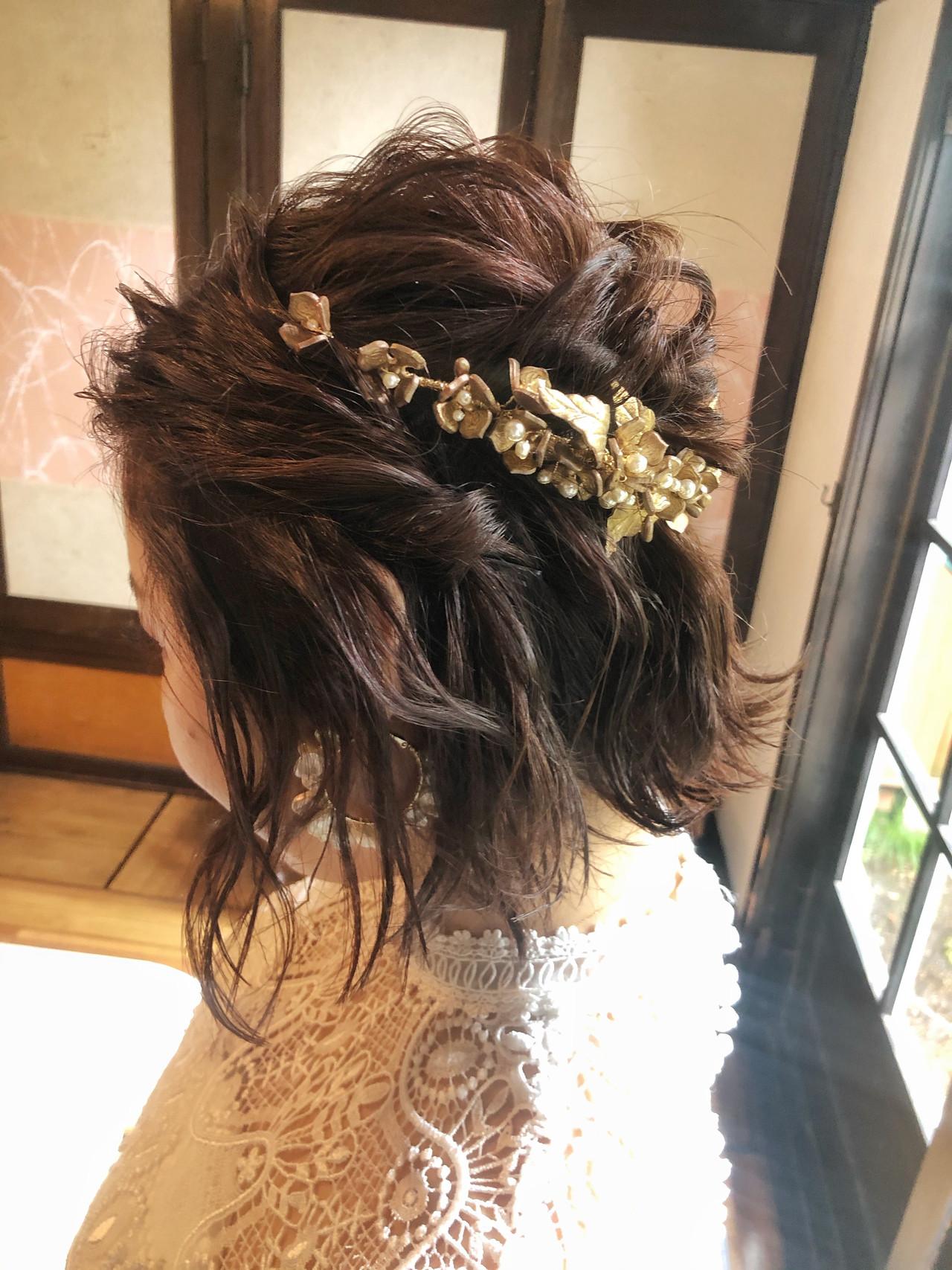 エレガント ボブ 結婚式ヘアアレンジ 結婚式 ヘアスタイルや髪型の写真・画像