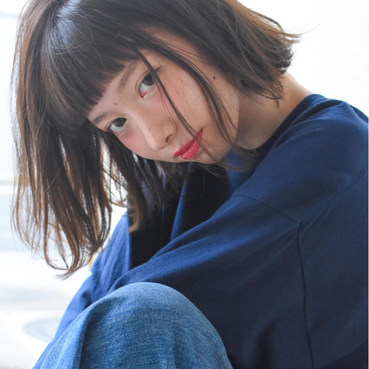 前髪あり フリンジバング ナチュラル ハイライト ヘアスタイルや髪型の写真・画像 | 山崎直輝 / LIPPS銀座