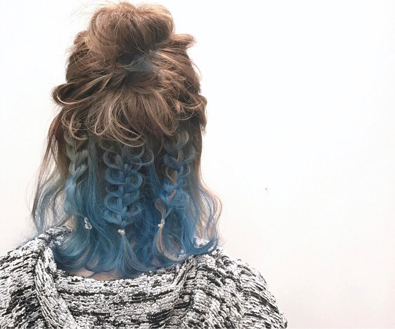 ハイライト ミディアム ブルー ヘアアレンジ ヘアスタイルや髪型の写真・画像 | Daichi shimazu / hairsalon M 大宮