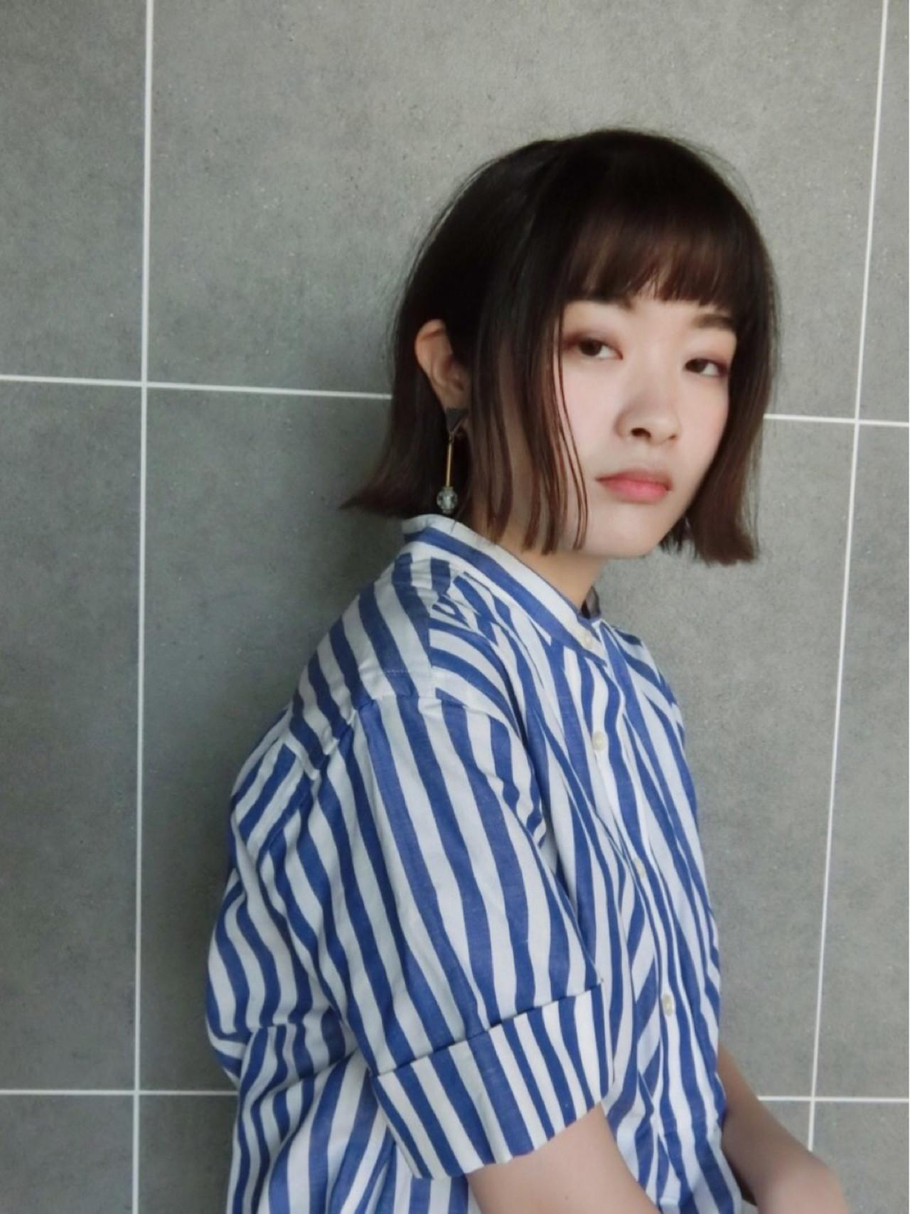 ボブ 切りっぱなし 外ハネ モード ヘアスタイルや髪型の写真・画像   尾花 佑輔 / SHISEIDO PASSAGE BEAUTE' GINZA