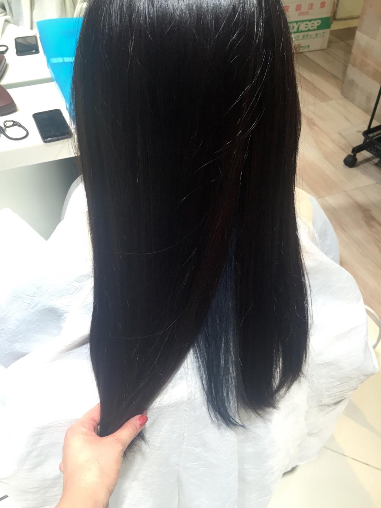 暗髪 ブルー 黒髪 インナーカラーヘアスタイルや髪型の写真・画像