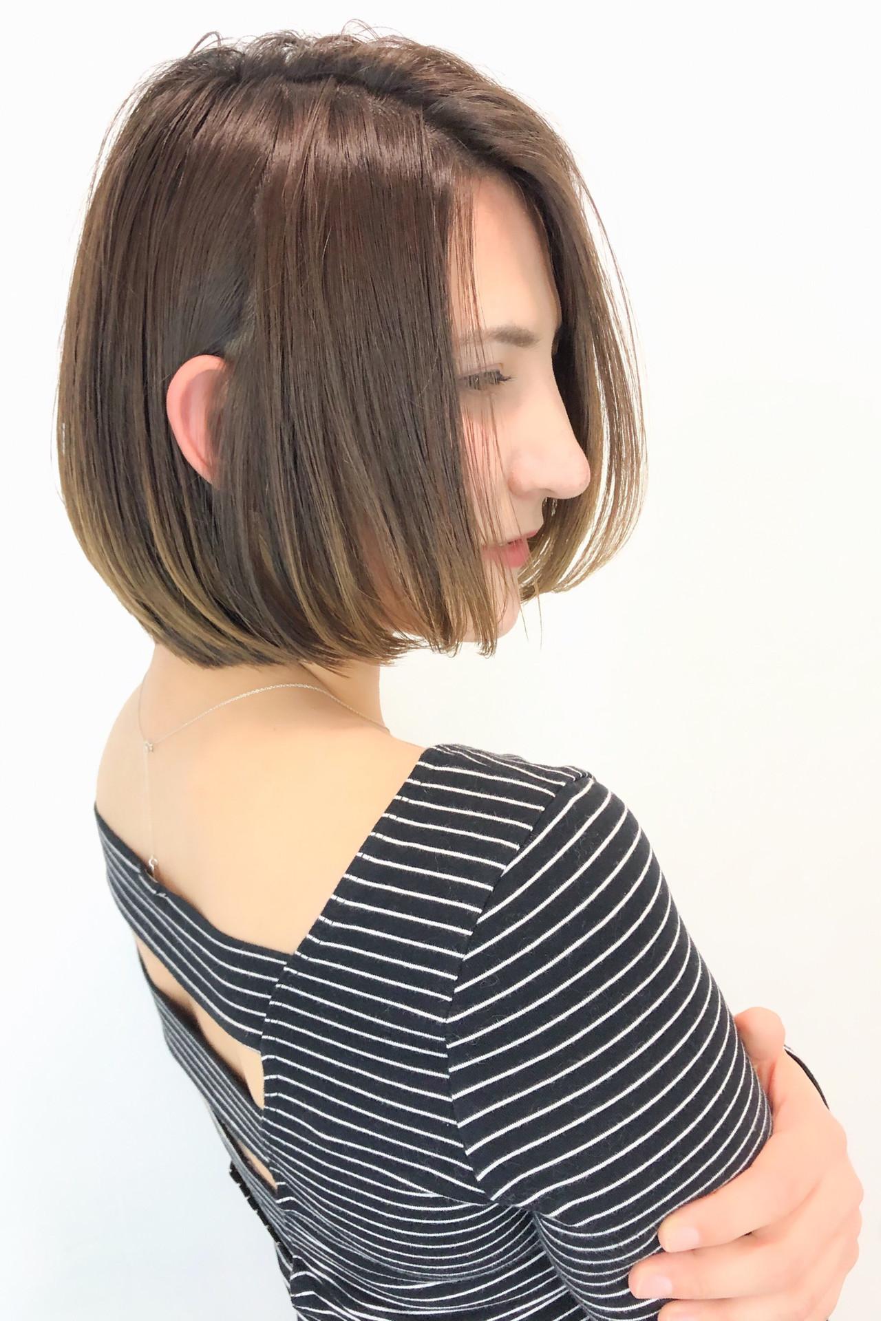 斜め前髪 ワンレングス 春スタイル ショートボブヘアスタイルや髪型の写真・画像