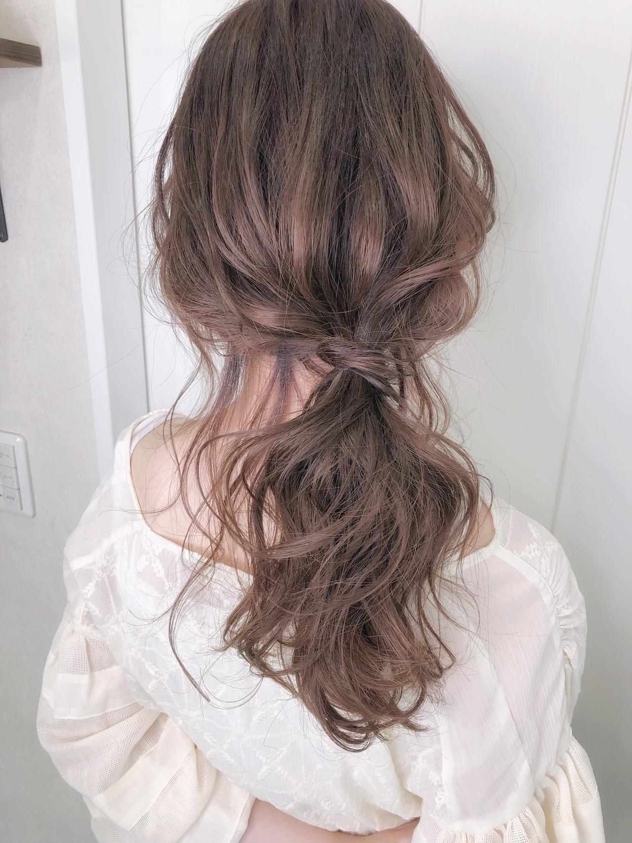 ナチュラル 浴衣アレンジ 浴衣ヘア ピンクアッシュヘアスタイルや髪型の写真・画像